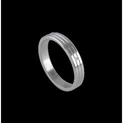 Anello unisex in oro bianco 18 kt con leggere righe e diamante modello ab5339ldw