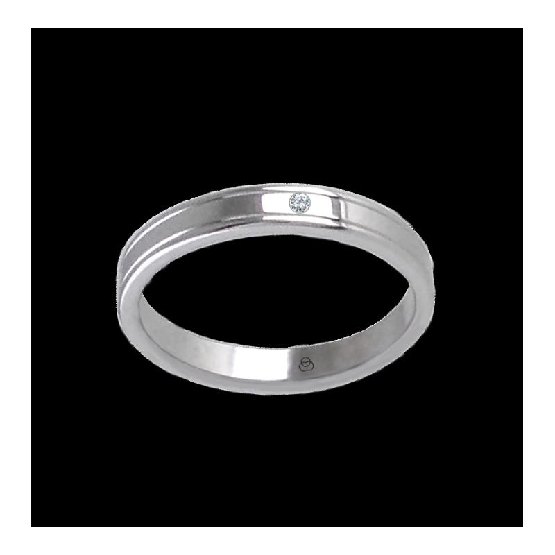 Кольцо унисекс из белого золота 18 карат с тонкими линиями и алмазом модель ab5339ldw