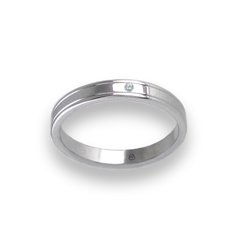 Unisex ring in white gold 18k with thin lines with diamond model ab5339ldw