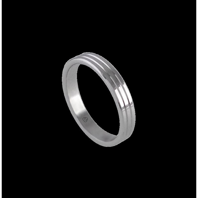 Кольцо унисекс из белого золота 18 карат с узкими линиями модель ab5339lew