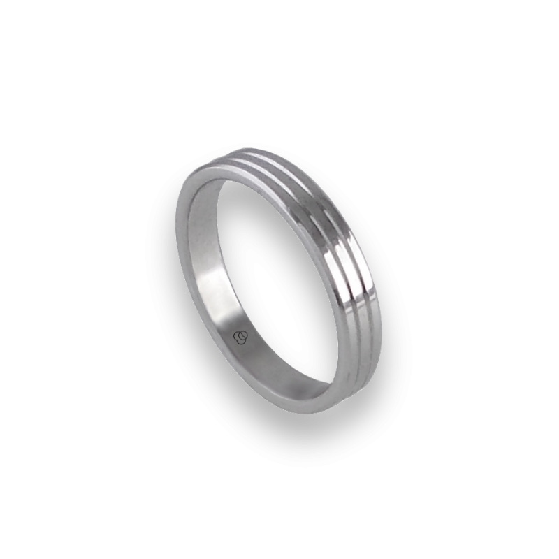Unisex ring in white gold 18k with thin lines model ab5339lew