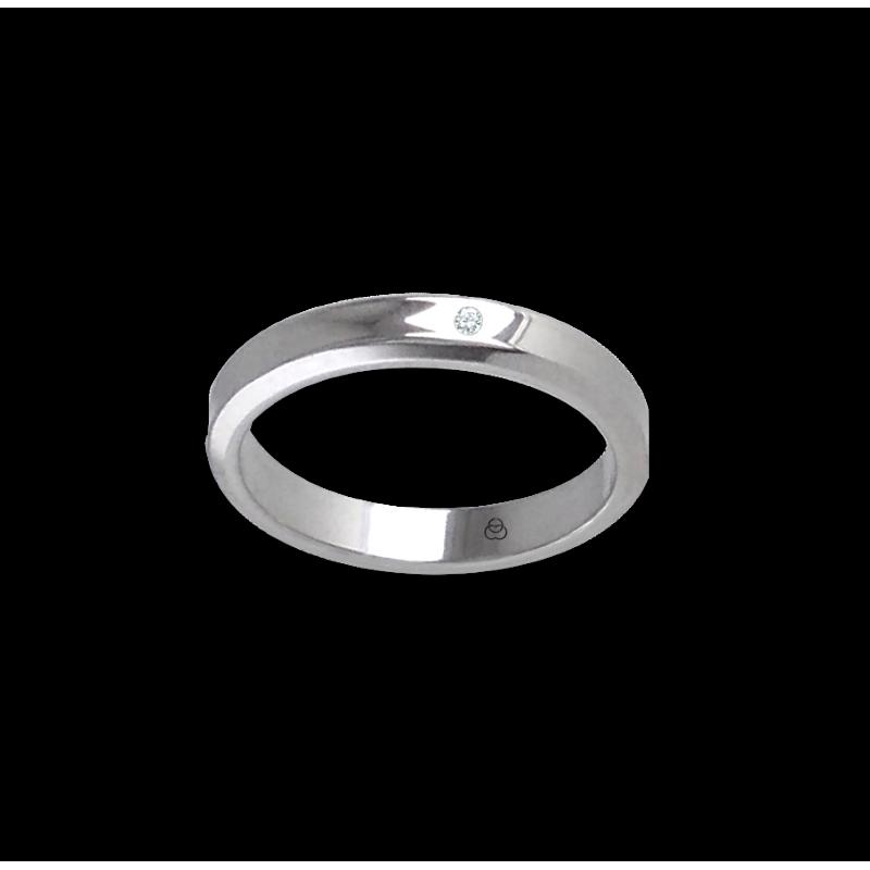 Anello unisex in oro bianco 18 kt scavato al centro con diamante modello ab538100dw