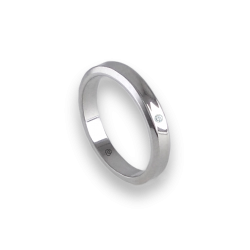 Unisex ring in white gold 18k holloved at the center with diamond model ab538100dw