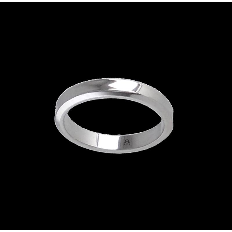 Anello unisex in oro bianco 18 kt leggermente scavato al centro ab538100dw