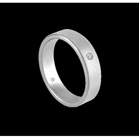 Кольцо унисекс из белого золота 18 карат матовое с алмазом шаблон nb5070dw