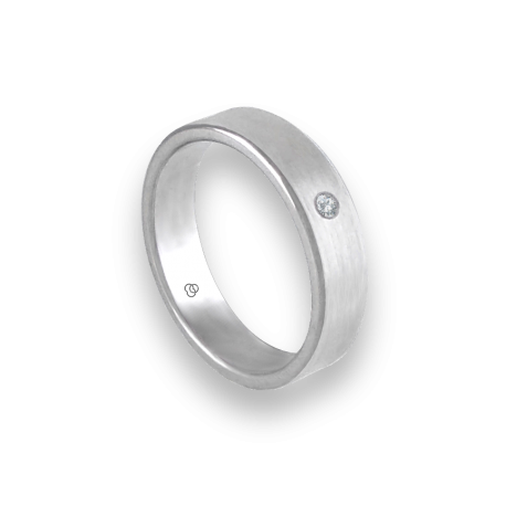 Unisex ring in white gold 18k wire brushed finish with diamond model nb5070dw