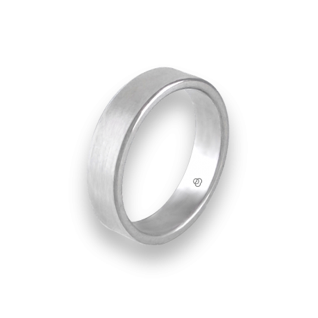 Unisex ring in white gold 18k wire brushed finish model nb5070ew
