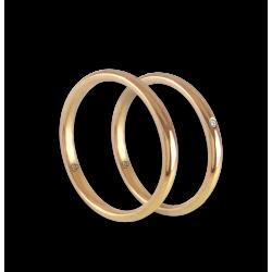 Пара обручальных колец из желтого золота 18 карат без наценки с бриллиантом модель ag0258ldw