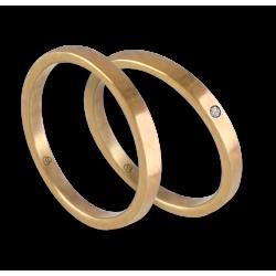 Пара обручальных колец из желтого золота 18 карат без наценки с бриллиантом модель ag1268lew