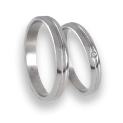 Unisex wedding rings in white gold 18k extra polished with diamond model ab2319lew