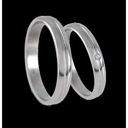 Fedi nuziali unisex in oro bianco 18 kt extra lucido con diamante modello ab2319lew