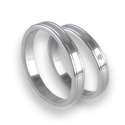 Unisex wedding rings in white gold 18k extra polished with diamond model ab0349lew