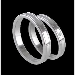 Пара обручальных колец унисекс из белого золота 18 карат дополнительный глянец с бриллиантом и без него модели ab0349lew