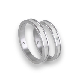 Unisex wedding ring in white gold 18k polished and satin with diamond model bb0359lew