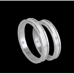Пара обручальных колец унисекс из белого золота 18 карат с бриллиантом глянцевой и матовой поверхности модели bb0359lew