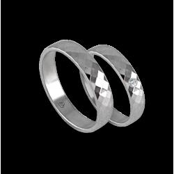 Wedding rings in white gold 18k rhombus faceted design model ab537622we
