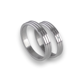 Unisex wedding rings in white gold 18k with thin lines model ab5339lew