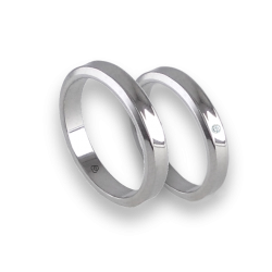 Unisex wedding rings in white gold 18k holloved at the center model ab538100ew