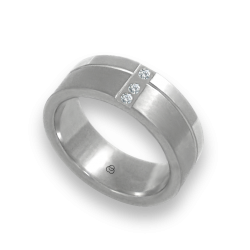 Unisex ring in white gold 18k with 3 diamonds polished and satin finish model db073142dw