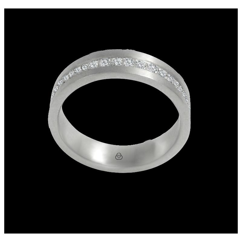 Anello unisex in oro bianco 18 kt satinato con diamanti bianchi tutto intorno modello teb05106dw
