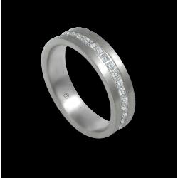 Кольцо унисекс из белого золота 18 карат матовое с белыми бриллиантами вокруг модели teb05106dw