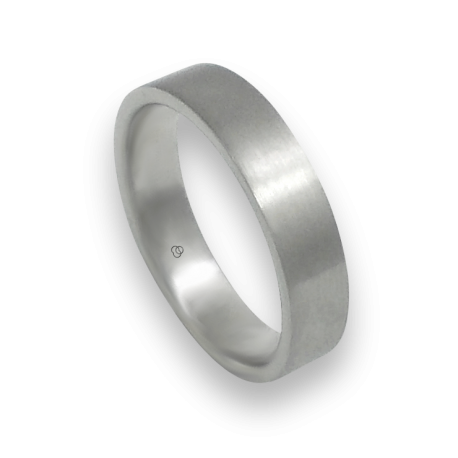 Unisex ring in white gold 18k with satin finish model 05106ew