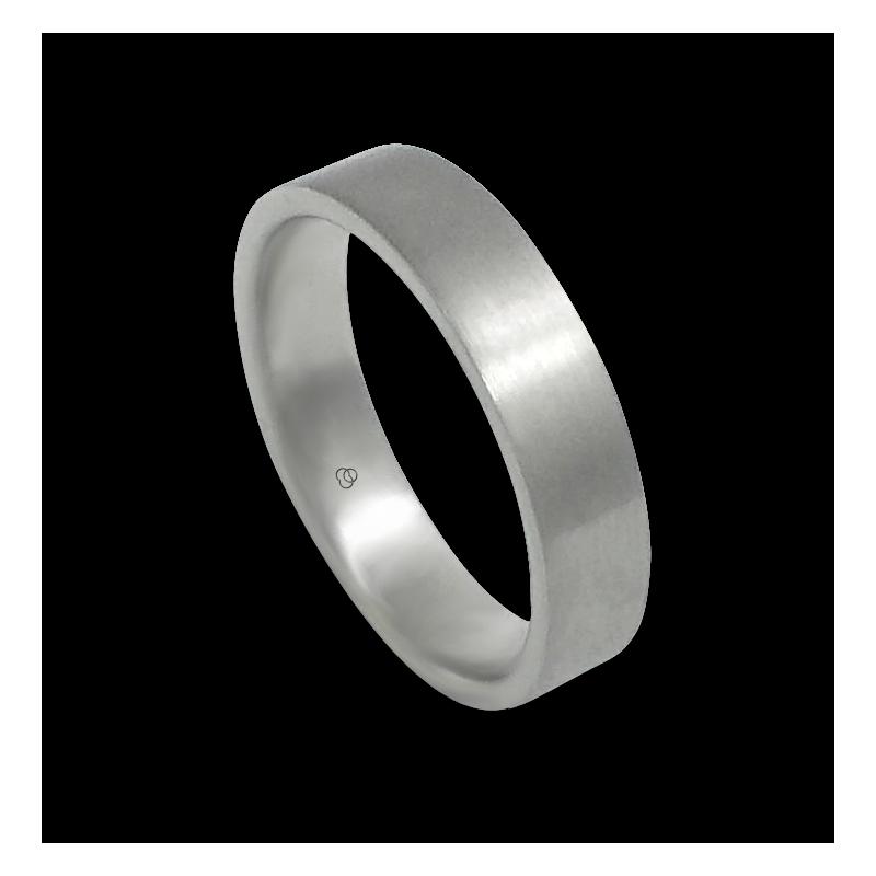 Unisex ring in white gold 18k with satin finish model 05106ew