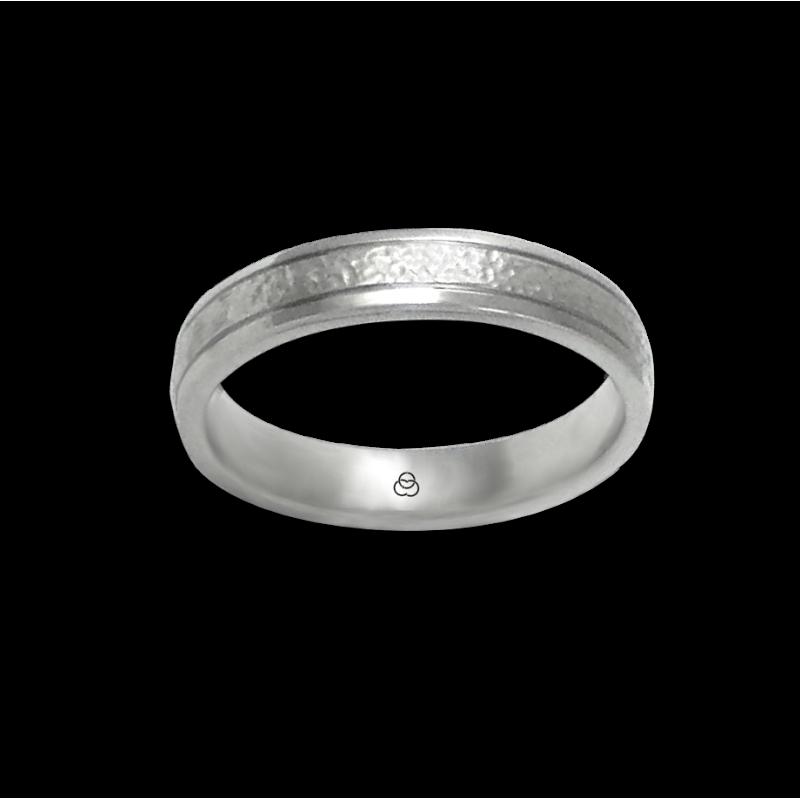 Кольцо из белого золота 18 карат, кованое и полированное модель zb540334ew