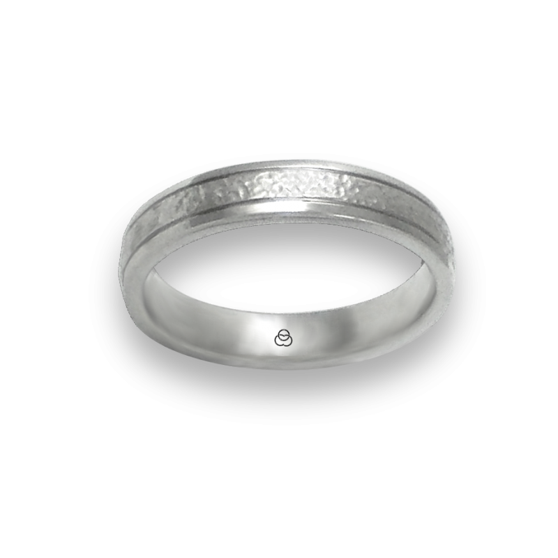 Ring in white gold 18k hammereb and polished finish model zb540334ew