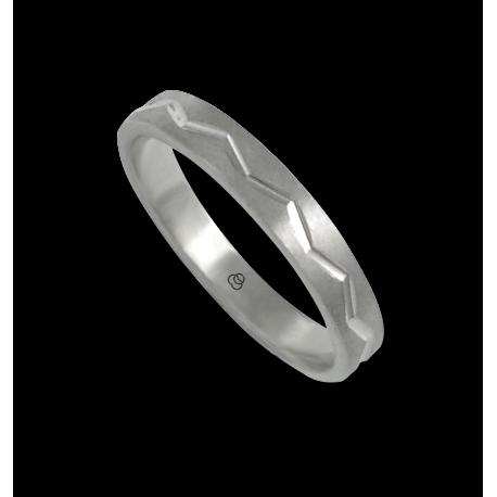 Anello in oro bianco 18 kt satinato con disegno zigzag centrale modello bb532324ew