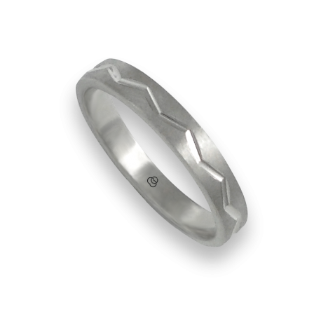 Ring in white gold 18k satin finish and zigzag design model bb532324ew