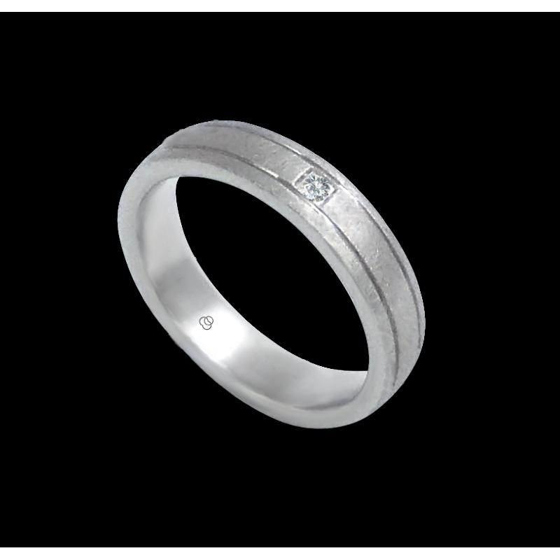 Кольцо из белого золота 18 карат 1 бриллиант отделка льда модель jb540334dw