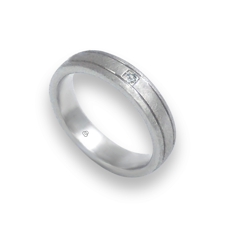 Ring in white gold 18k with 1diamond ice finish model jb540334dw