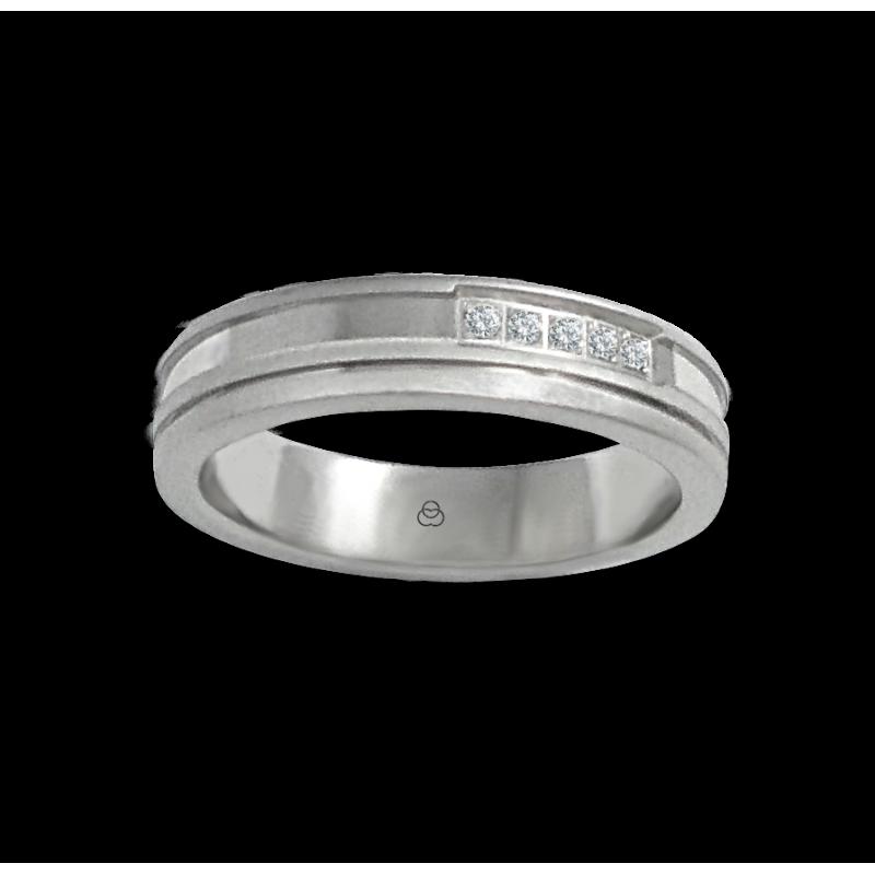 Anello in oro bianco 18 kt satinato leggero con 5 diamanti modello mb548234dw