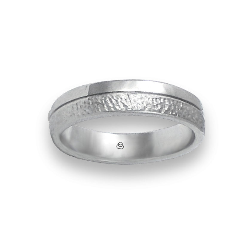 Ring in white gold 18k polished and hammered finish model zb553234ew