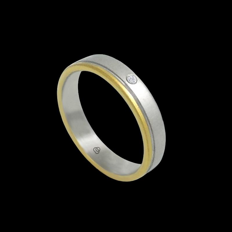 Anello in oro bianco e giallo 18 kt con 1 diamante modello ma040732dw