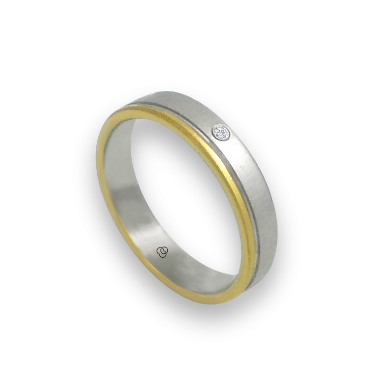 Ring in white and yellow gold 18k with 1diamond model ma040732dw