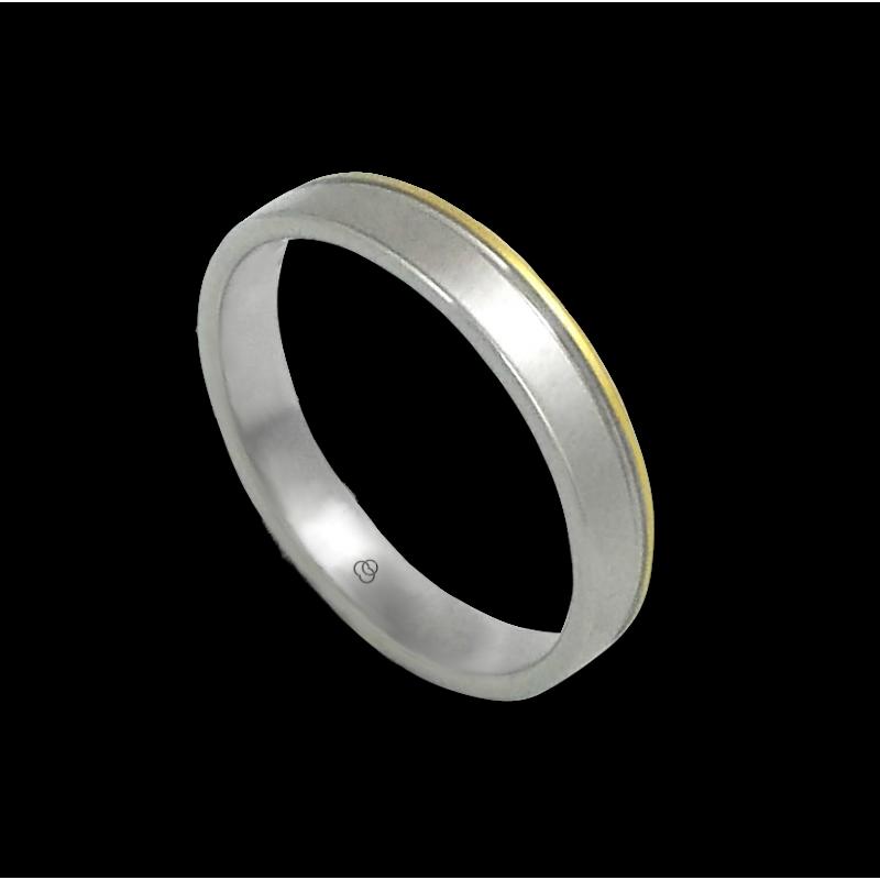 Кольцо из белого и желтого золота 18 карат матовое, блестящий конец модель ma040732ew