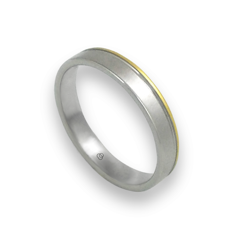 Ring in white and yellow gold 18k soft brush and polished finish model ma040732ew