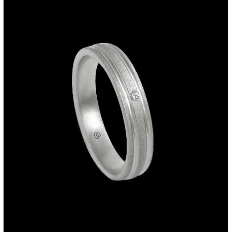 Anello in oro bianco 18 kt con 1 diamante finitura puntinato modello sb240632dw