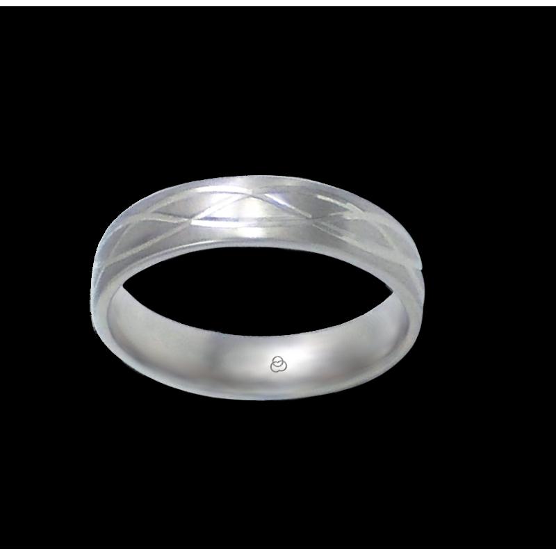 Кольцо из белого золота 18 карат матовое с двумя синусоидами модель bb059922ew_d