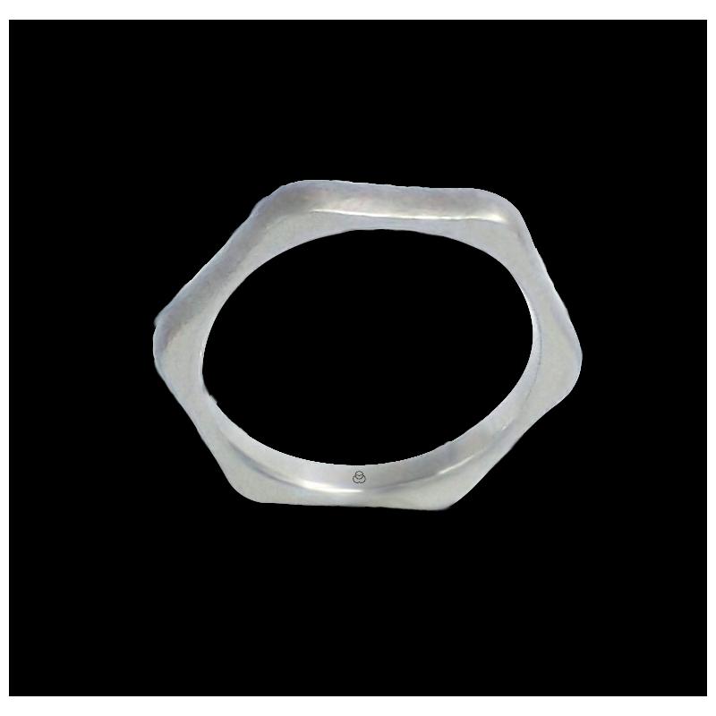 Anello esagonale in oro bianco 18 kt finitura ghiaccio modello jb526534ew