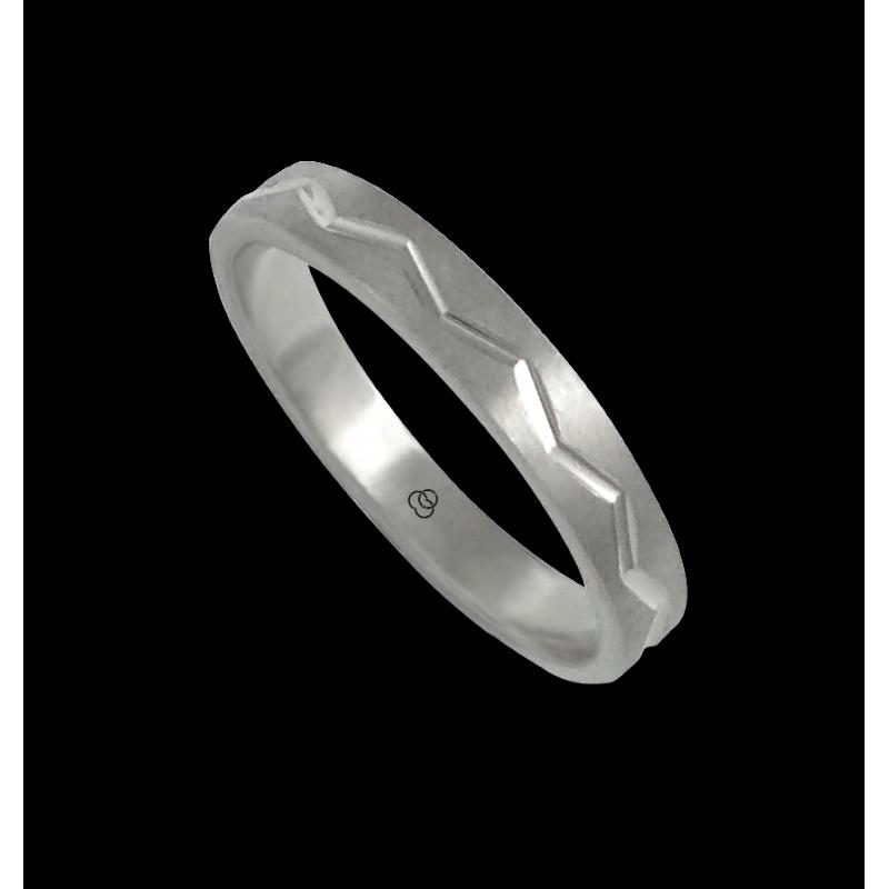 Anello in oro bianco 18 kt satinato con disegno zigzag centrale modello bb532324ew_d