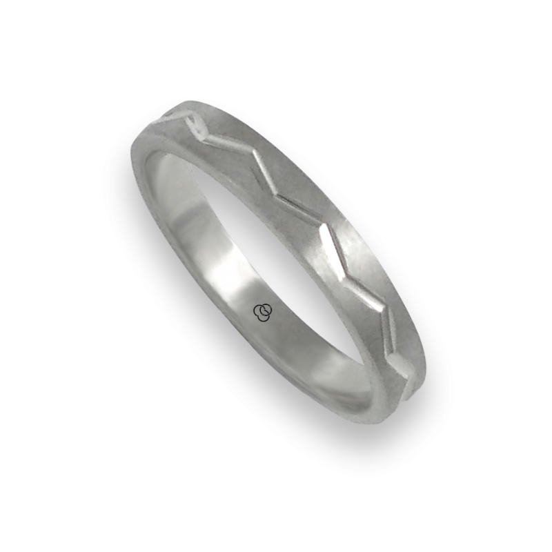 Ring in white gold 18k satin finish and zigzag design model bb532324ew_d