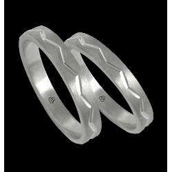 Unisex wedding rings in white gold 18k zigzag design model 532324