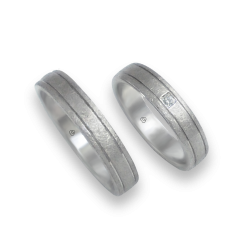 Unisex wedding rings in white gold 18k with and without diamon model jb540334