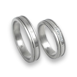 Unisex wedding rings in white gold 18k with and without diamond model. mb548234