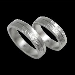Пара обручальных колец унисекс из белого золота 18 карат с глянцевой и текстурированной поверхностью модели zb553234