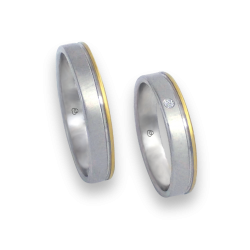 Unisex wedding rings in white and yellow gold 18k with diamond model ma040732