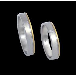 Пара обручальных колец унисекс из белого и желтого золота с 1 бриллиантом модель ma040732